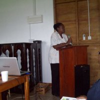 Mrs.Delia Cuffy-Weekes adresses the gathering